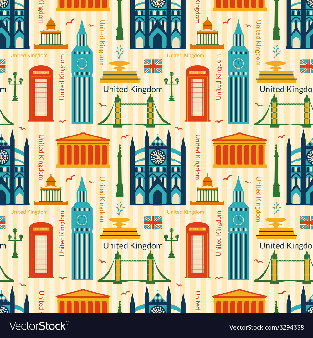 Seamless pattern with landmarks of united kingdom vector
