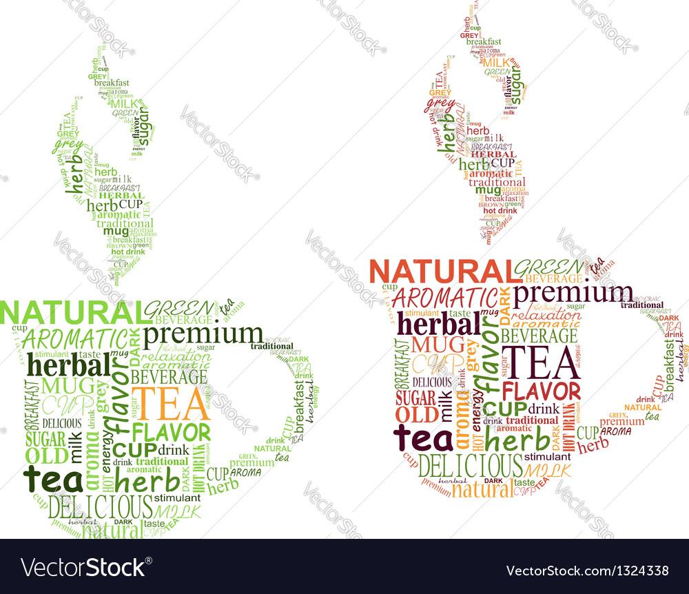 Tea tags cloud with cup shape vector
