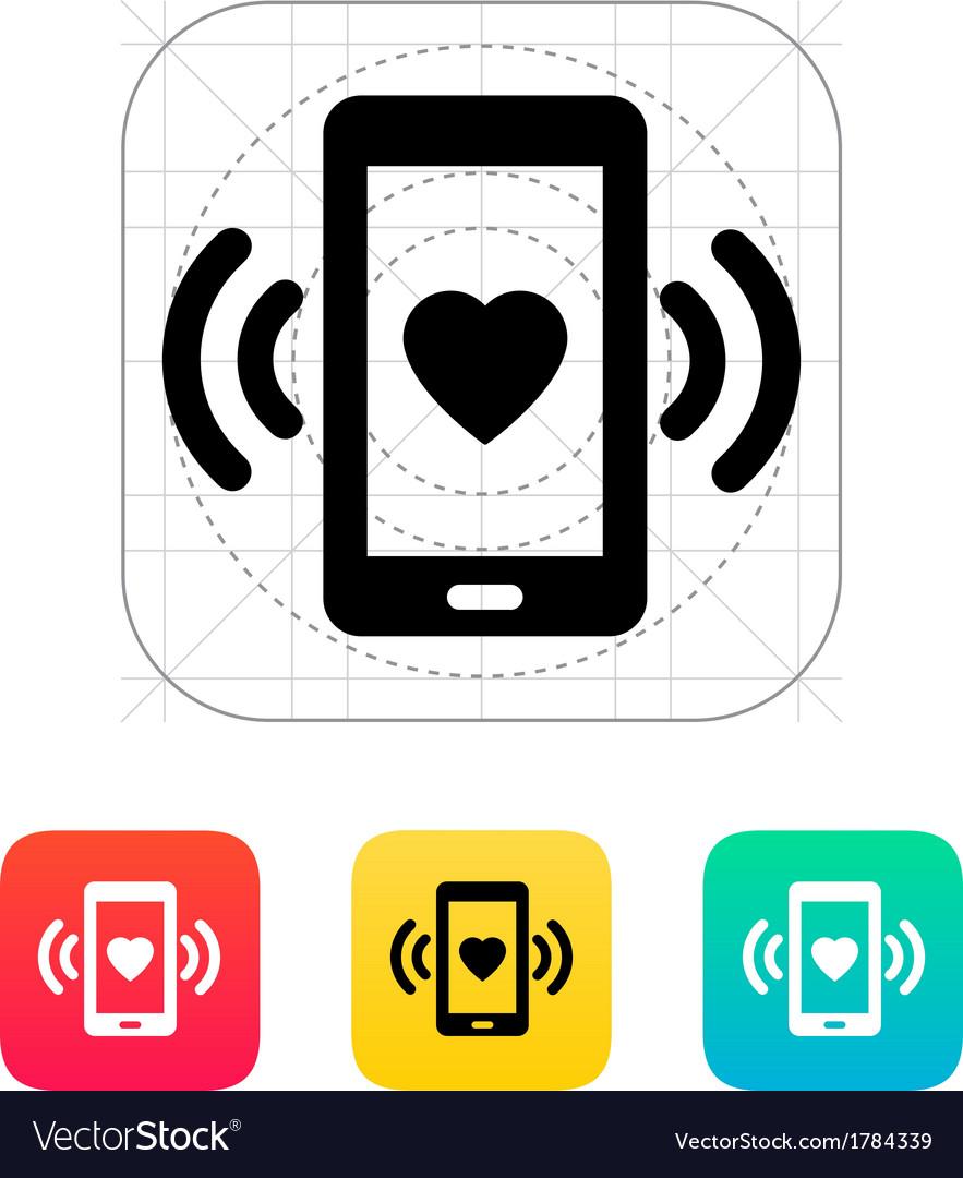 Romantic phone call icon vector