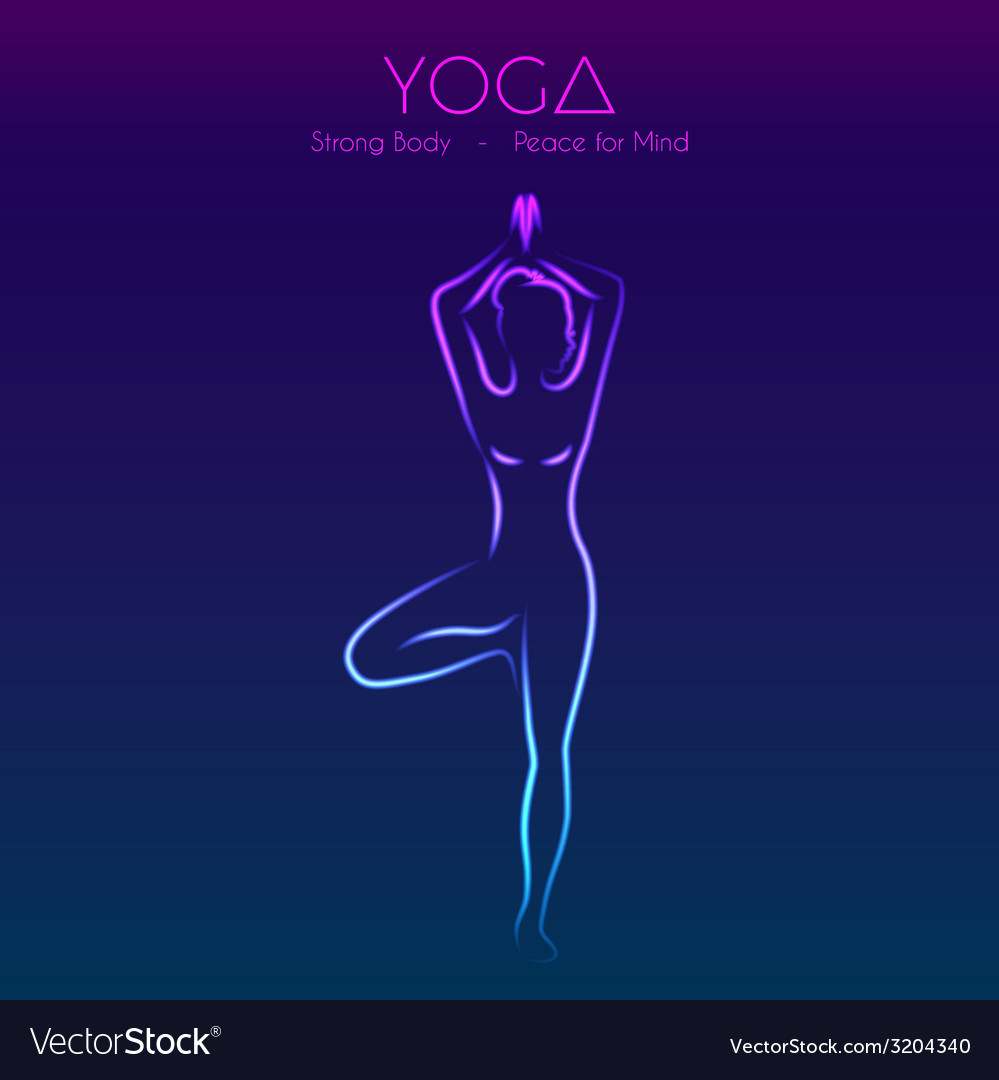 Yoga pose womans silhouette vector