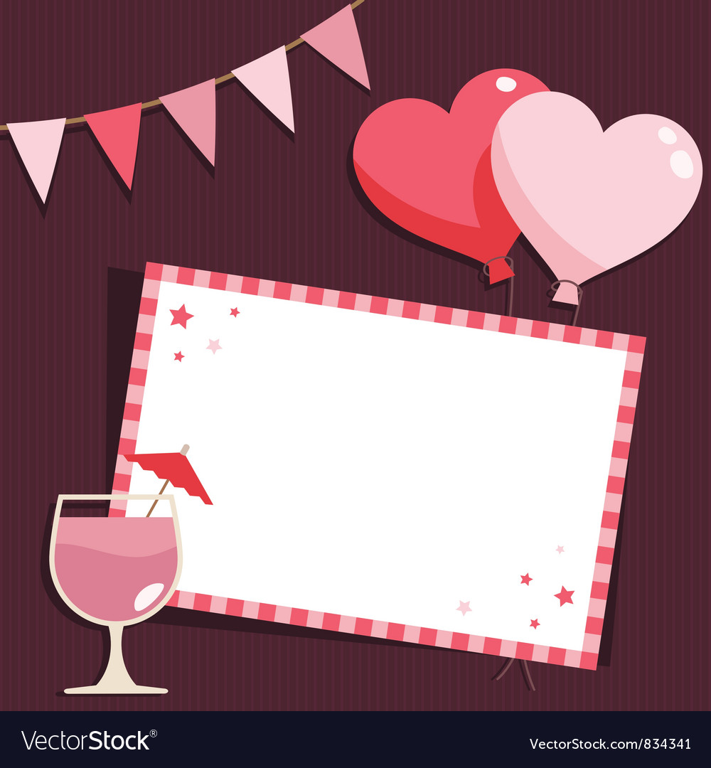 Pink party card vector