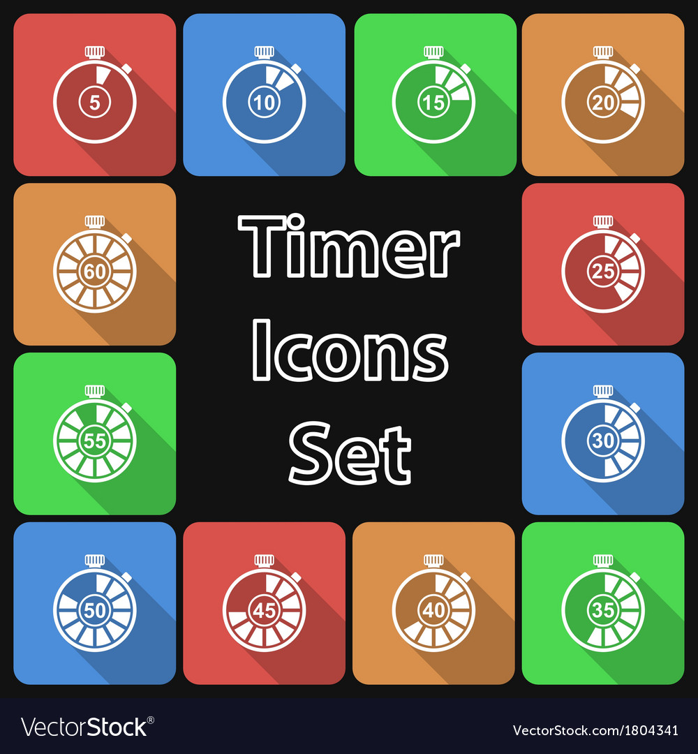 Timer icon set with long shadow vector