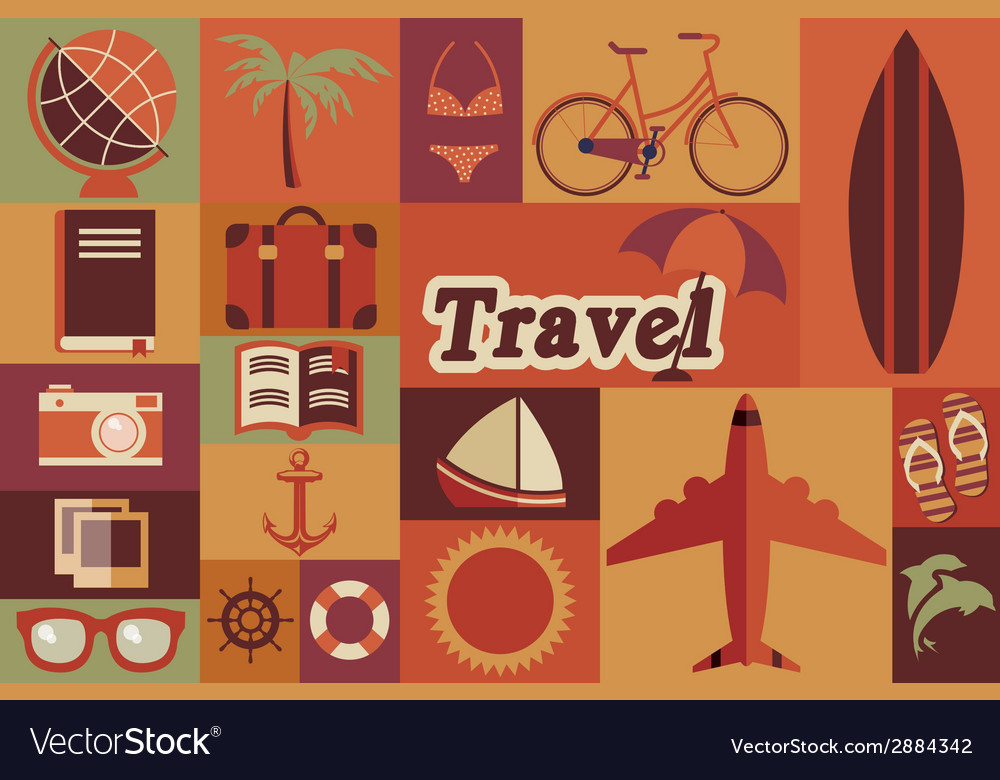 Collection of flat vintage retro travel icons flat vector