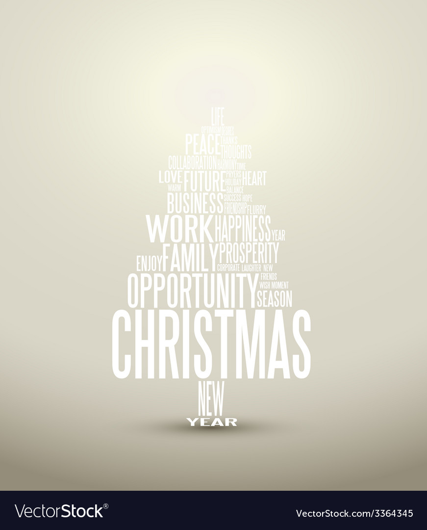Abstract christmas card with season words vector