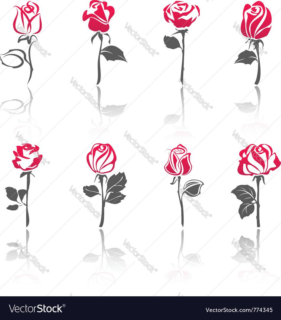 Rose icon set vector