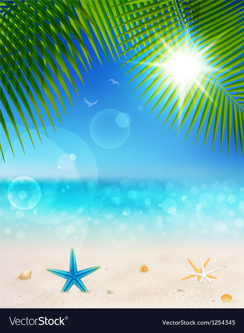 Seascape and palm leaves2 vector