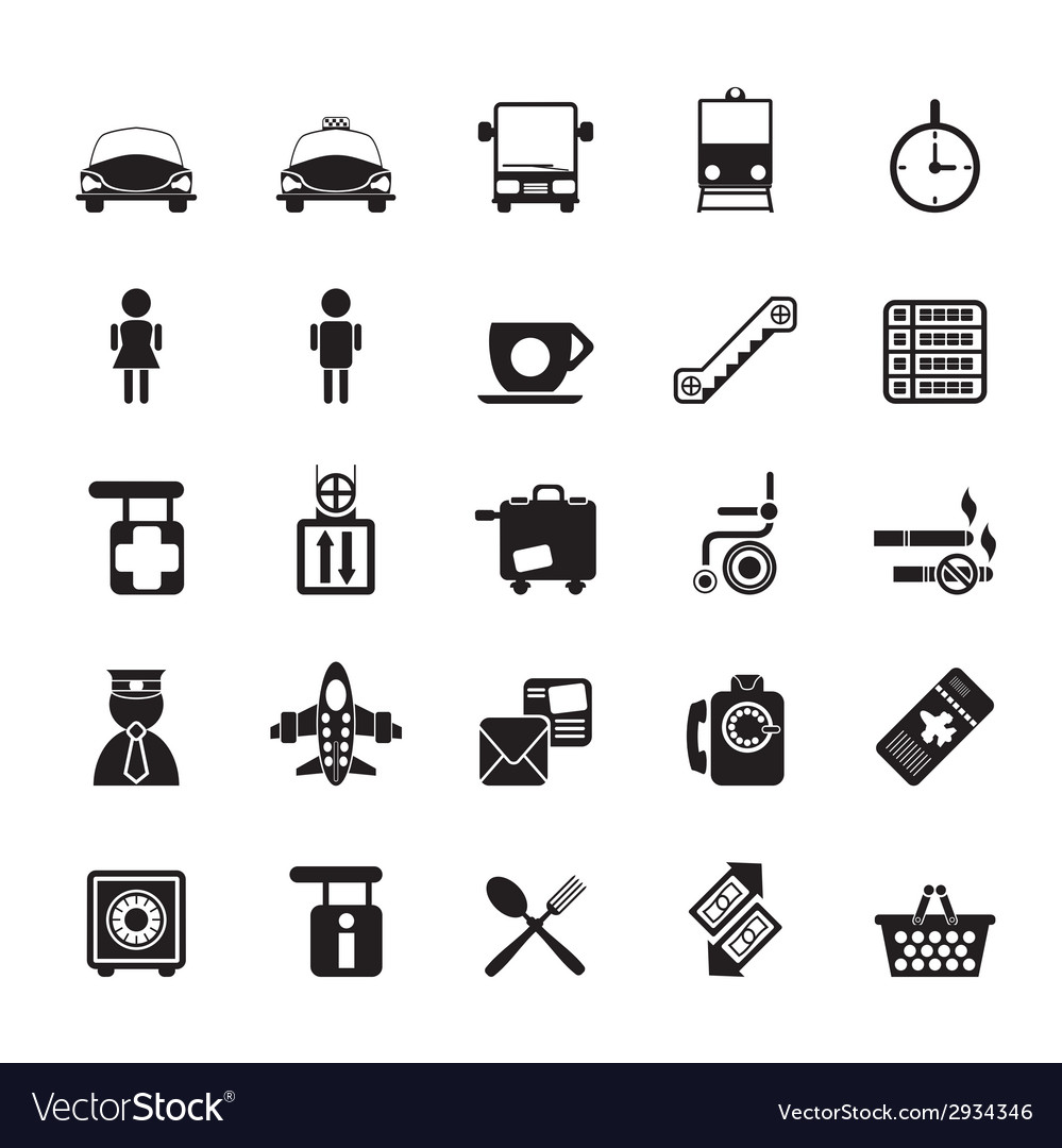 Silhouette travel and transportation icon vector
