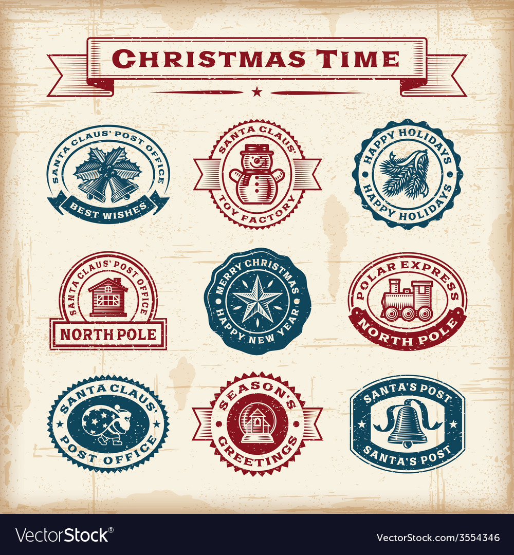 Vintage christmas stamps set vector