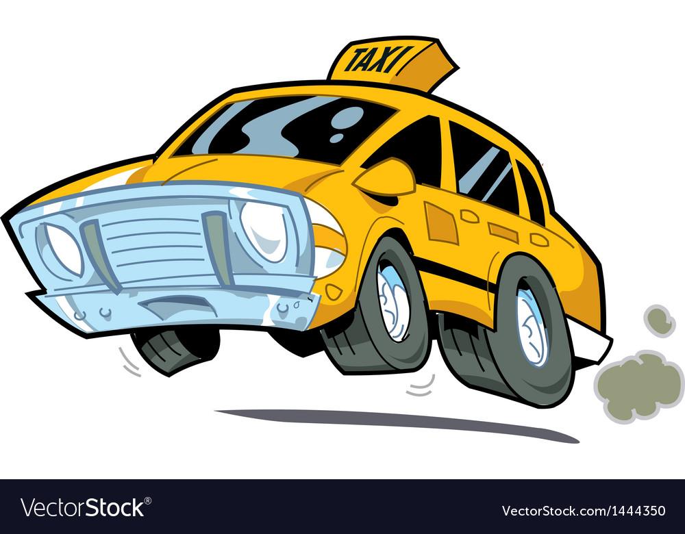 Speeding taxi vector