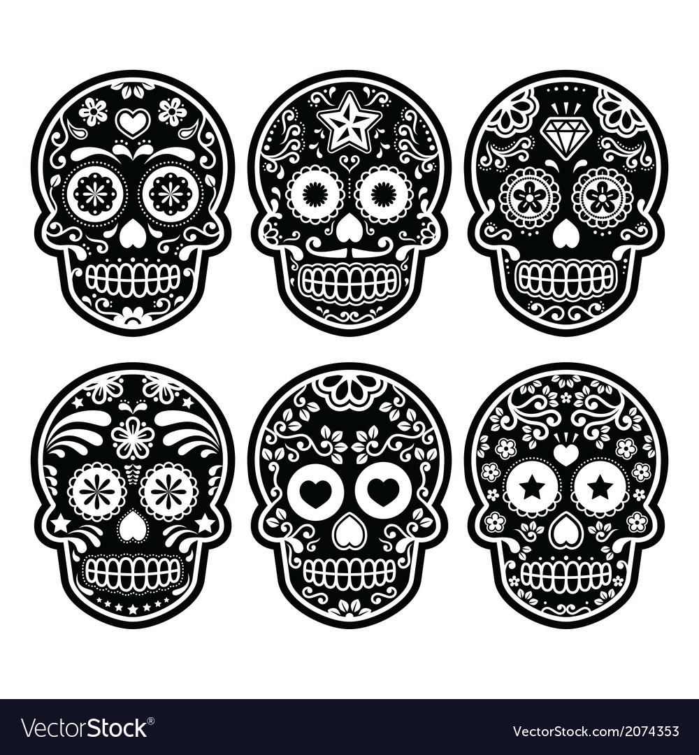 Mexican sugar skull dia de los muertos black icon vector