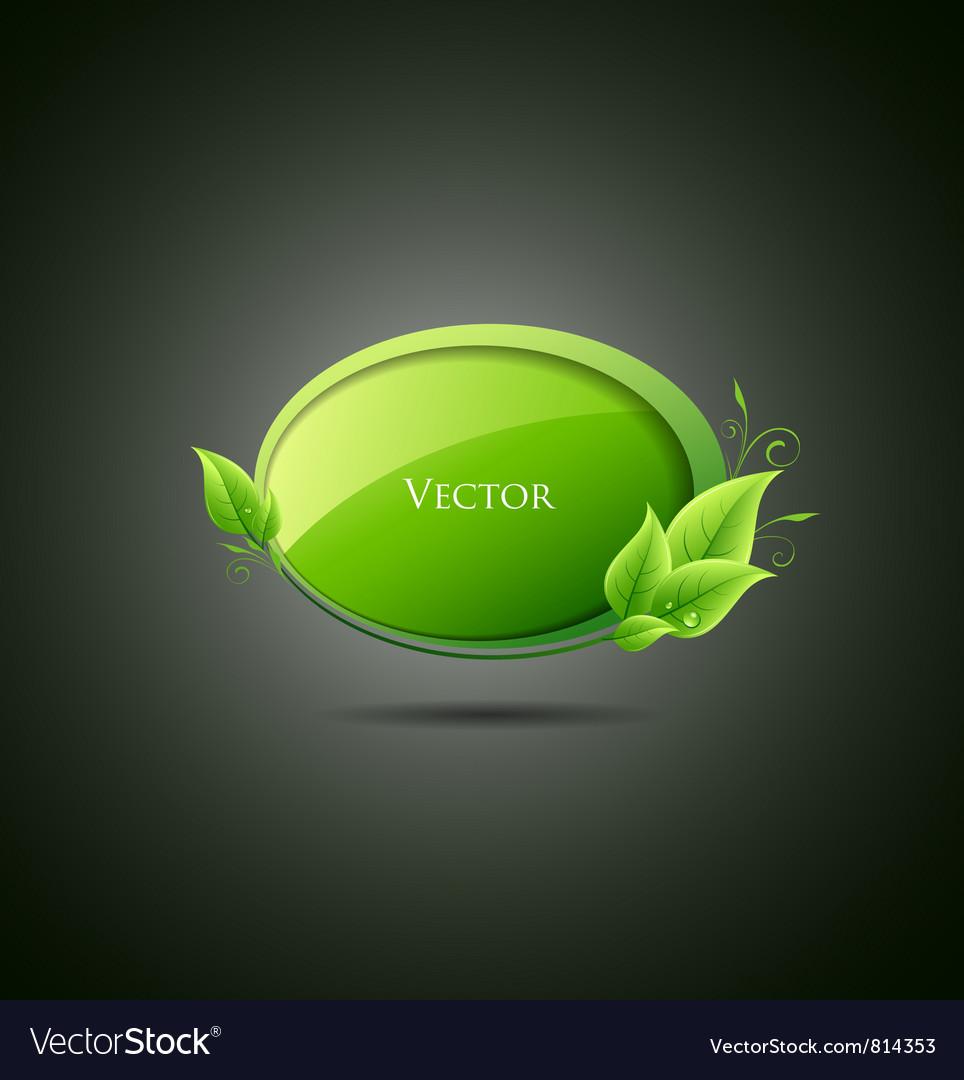 Speech bubble green leaf vector