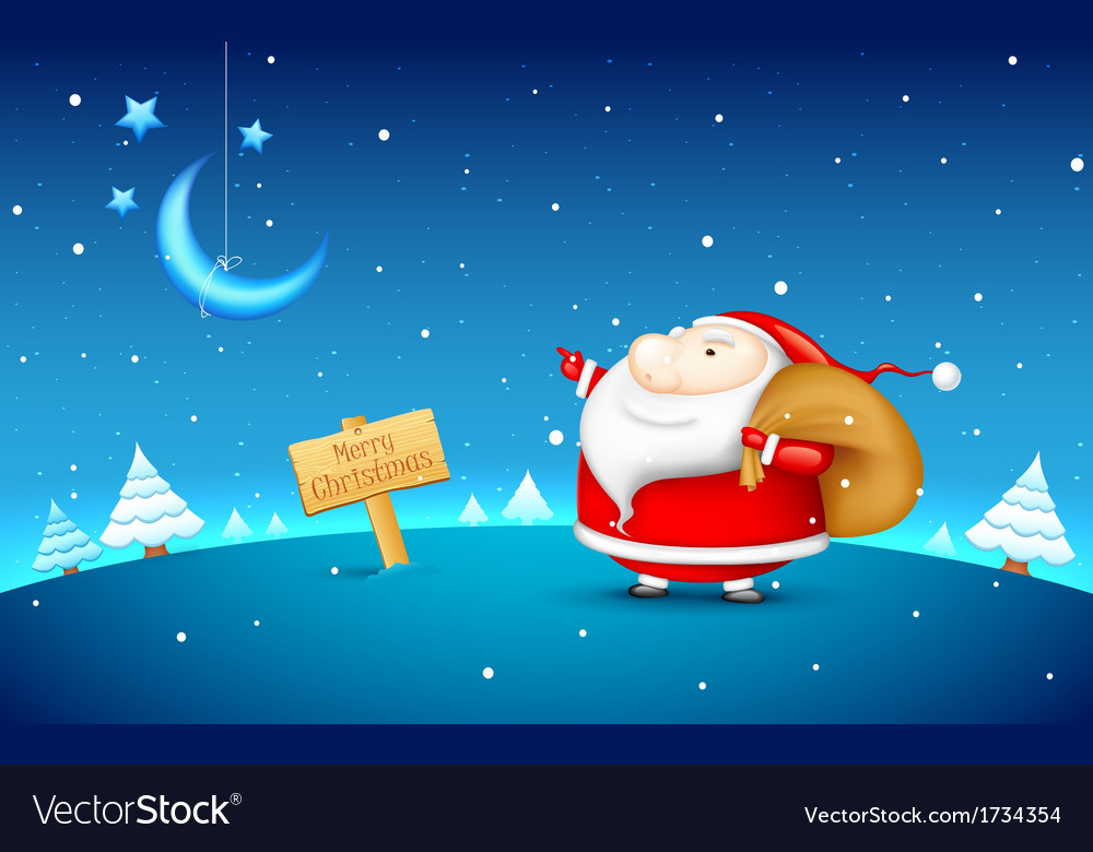 Santa claus in christmas night vector
