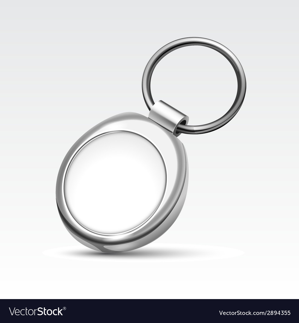 Blank metal round keychain with ring for key vector