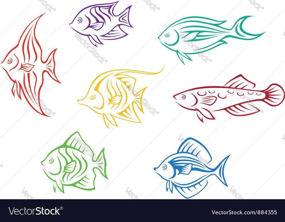 Set of seven colorful aquarium fishes vector