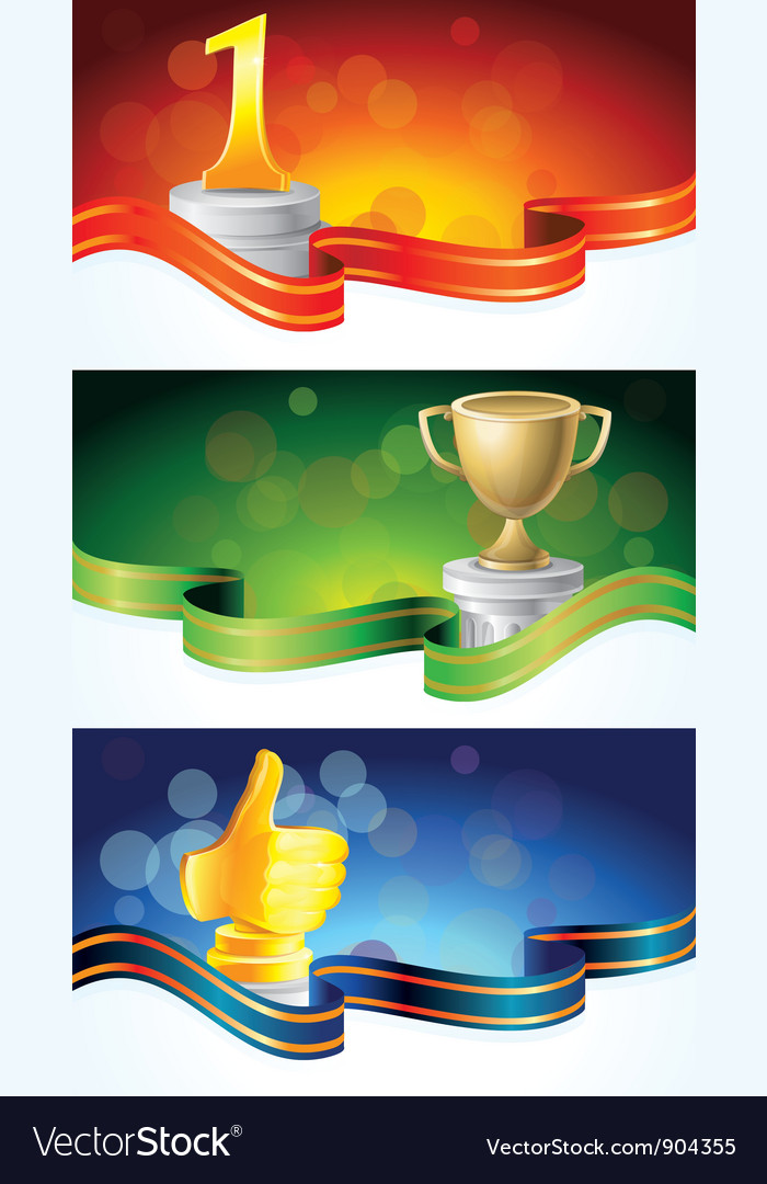 Set with winner banners vector