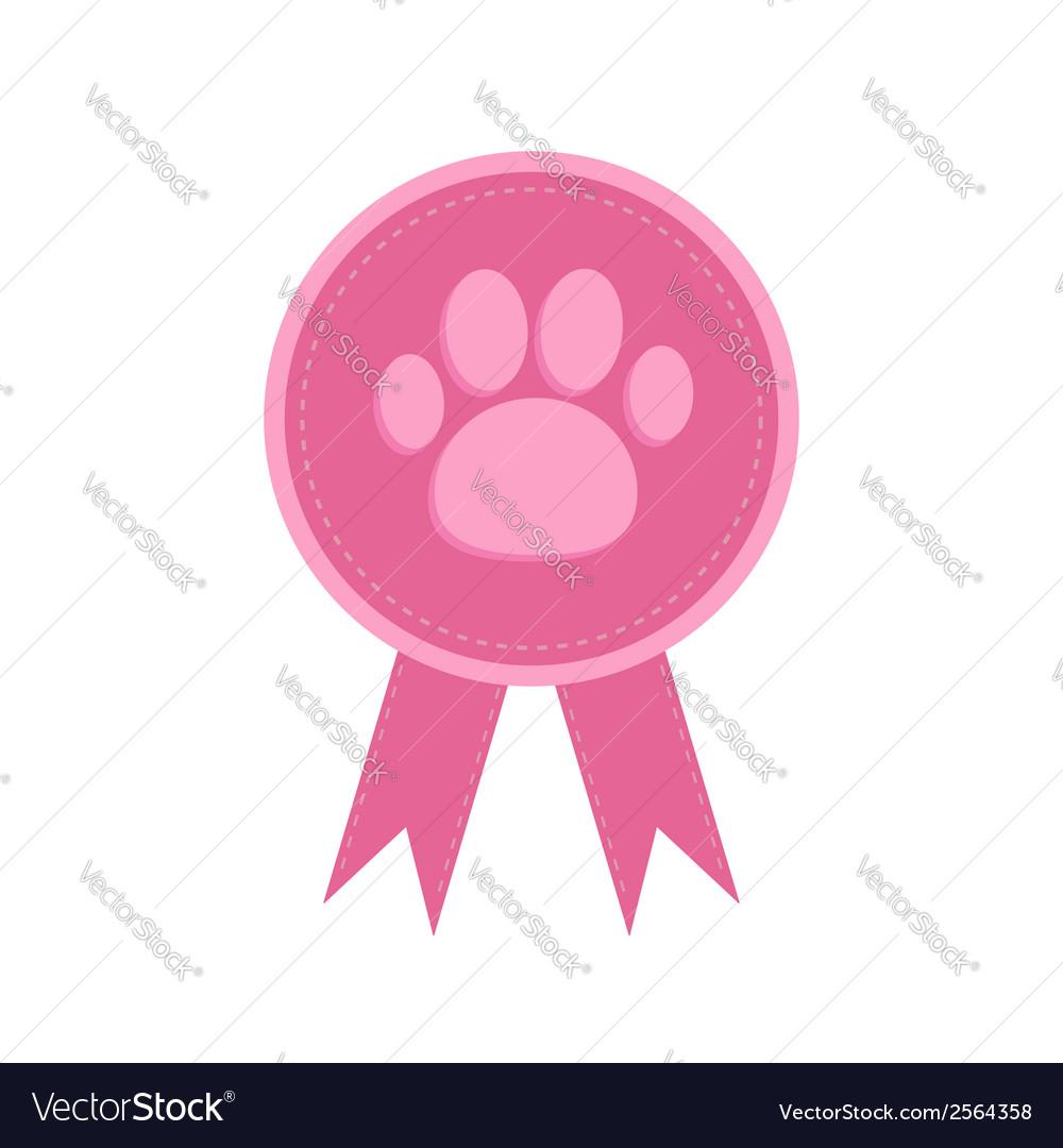 Badge with dog cat paw print and ribbons award vector