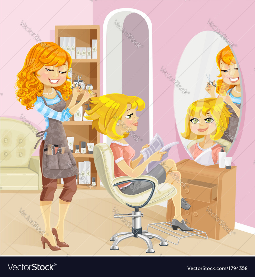Service girl in a beauty salon at the hairdresser vector
