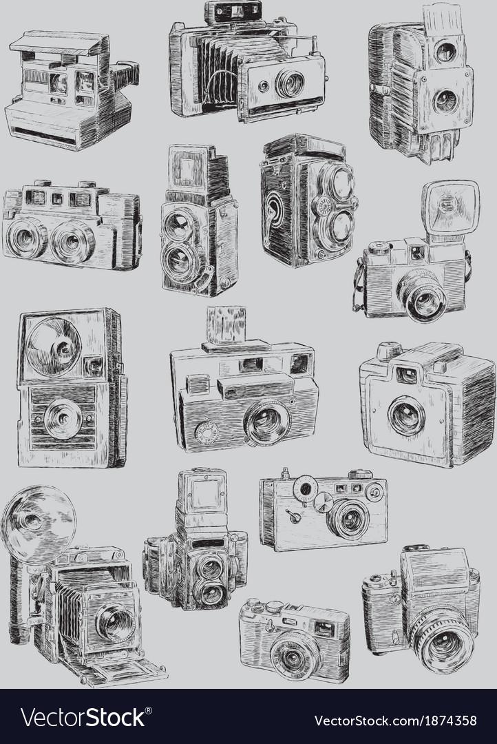 Sketchy vintage camera set vector