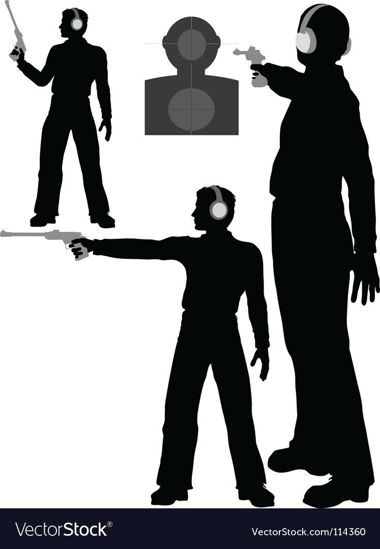 Silhouette man shoots target vector