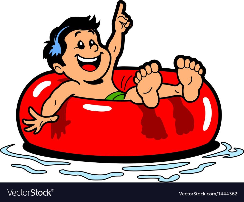 Boy floating inner tube vector
