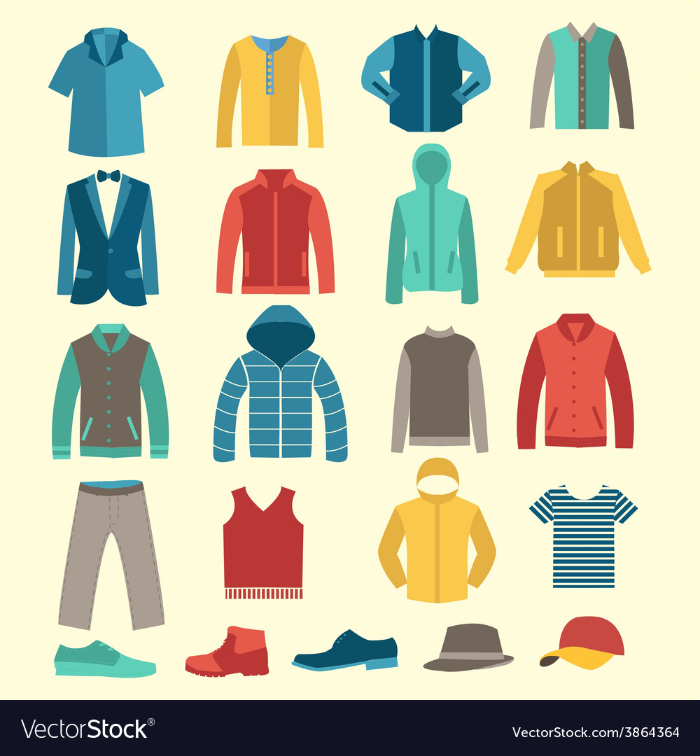 Man flat icons men clothes and accessories vector