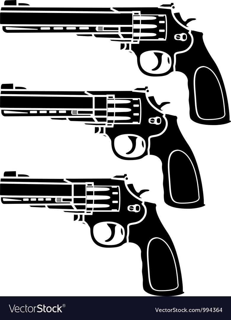 Set of pistols stencil vector