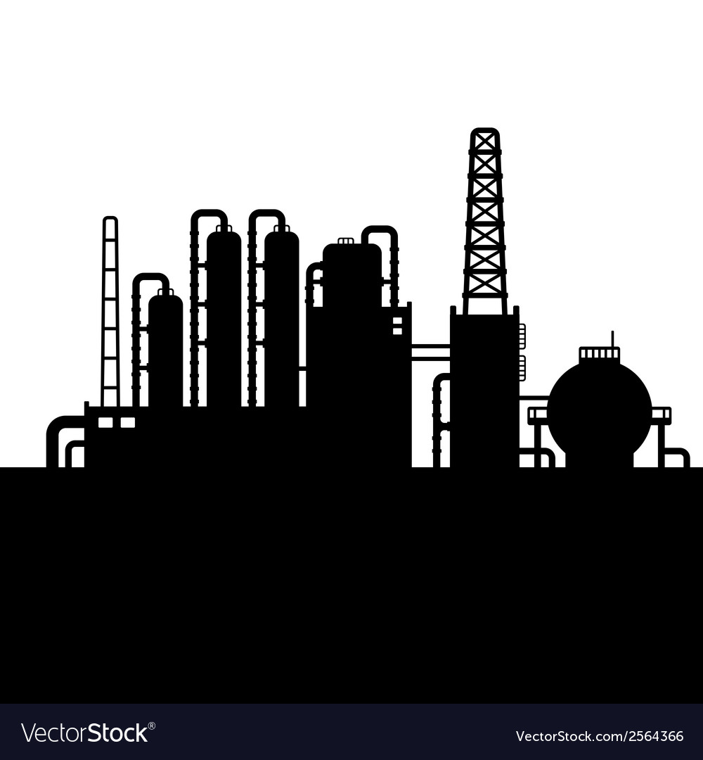 Oil refinery plant and chemical factory silhouette vector