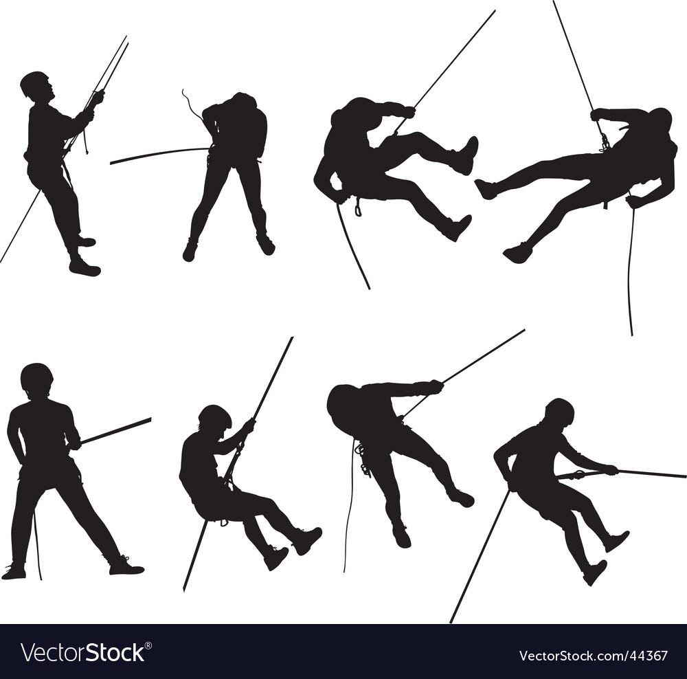 Canyoning silhouette vector