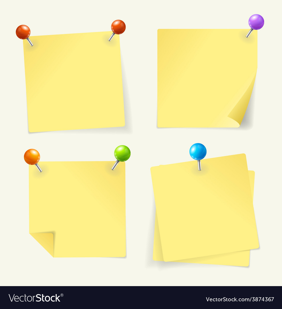 Pin yellow paper vector
