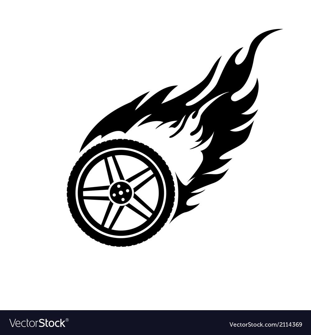 Black and white burning car wheel vector