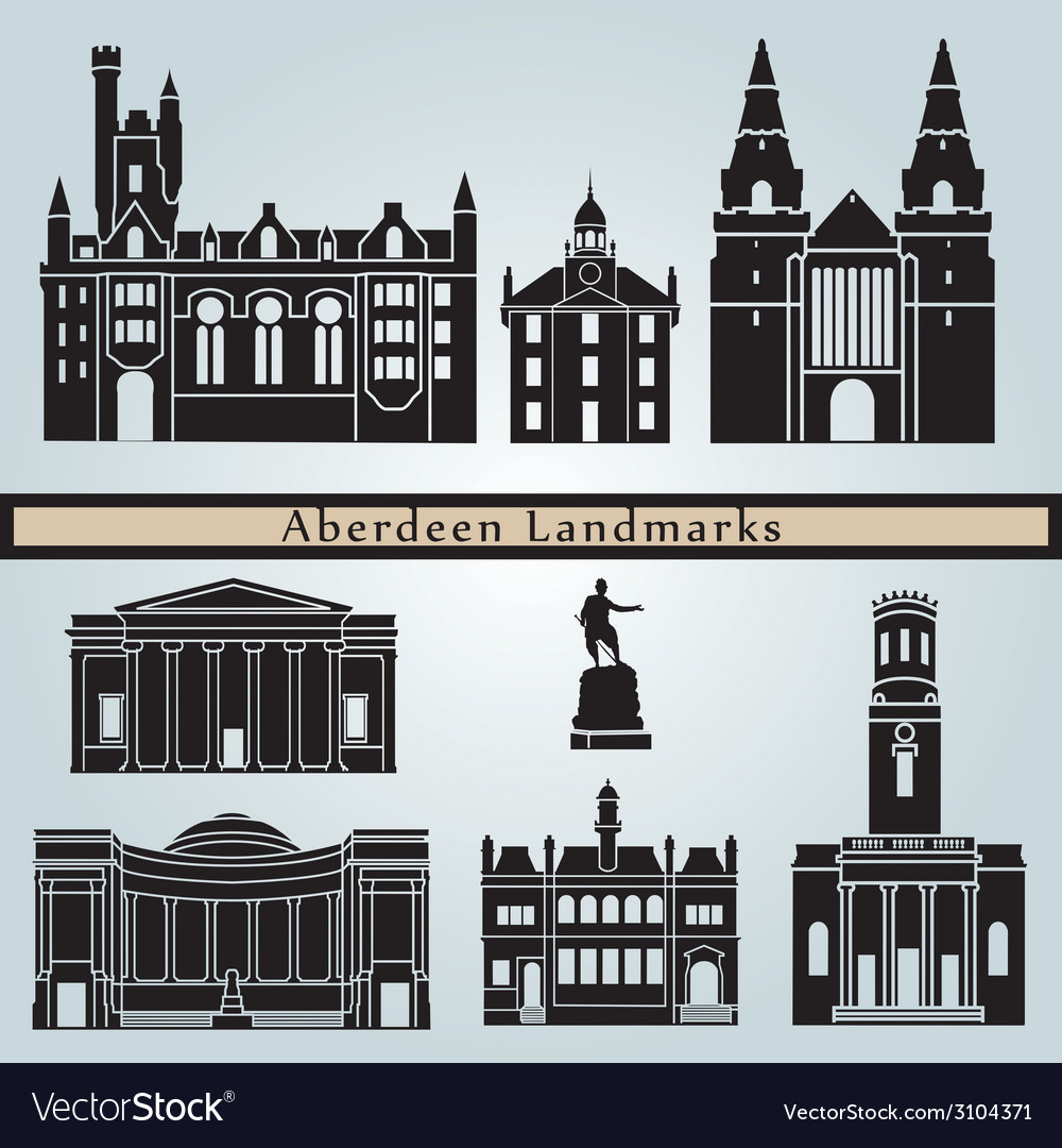 Aberdeen landmarks and monuments vector