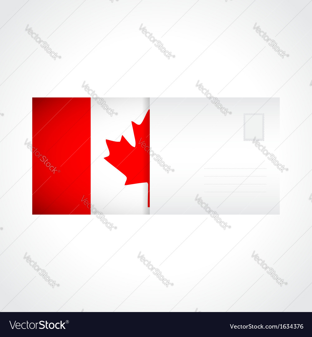 Envelope with canadian flag card vector