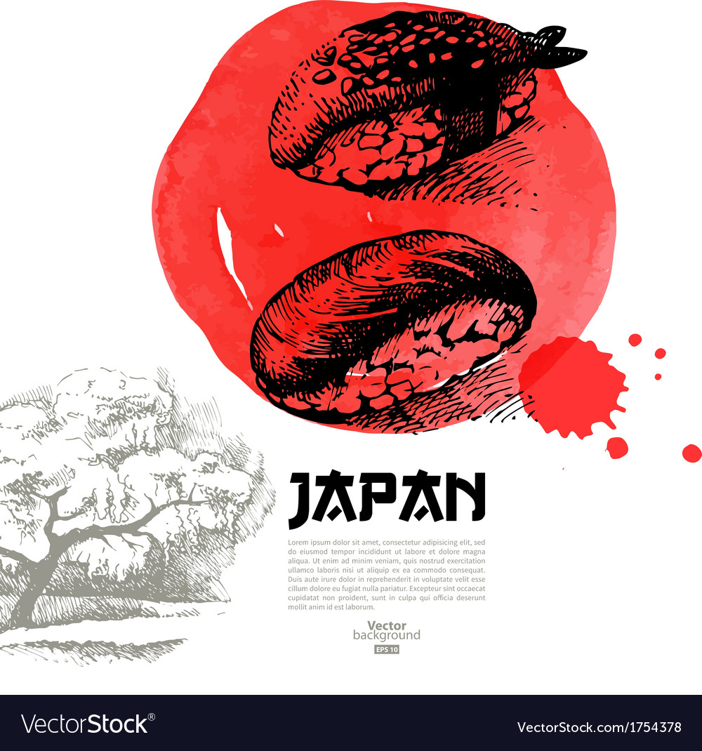 Sketch and watercolor hand drawn japanese sushi vector