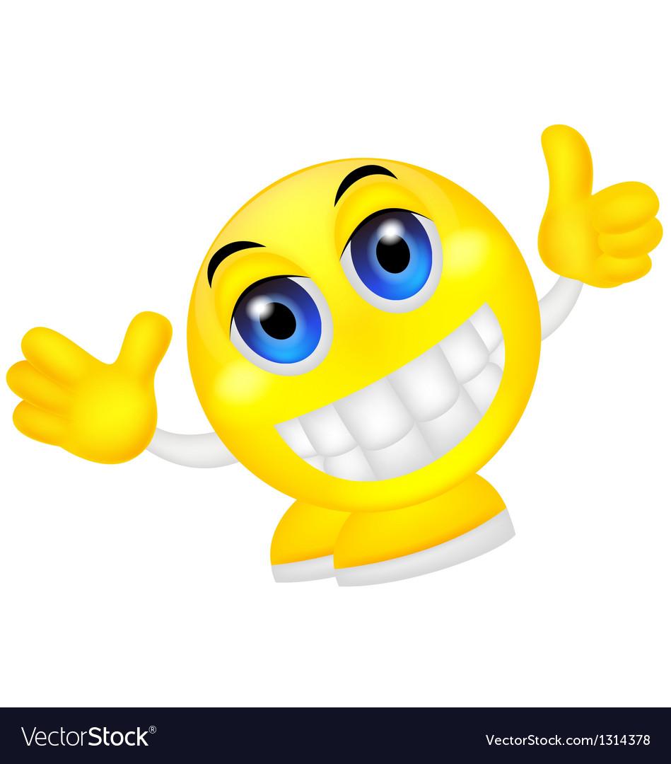 Smiley emoticon waving hand vector