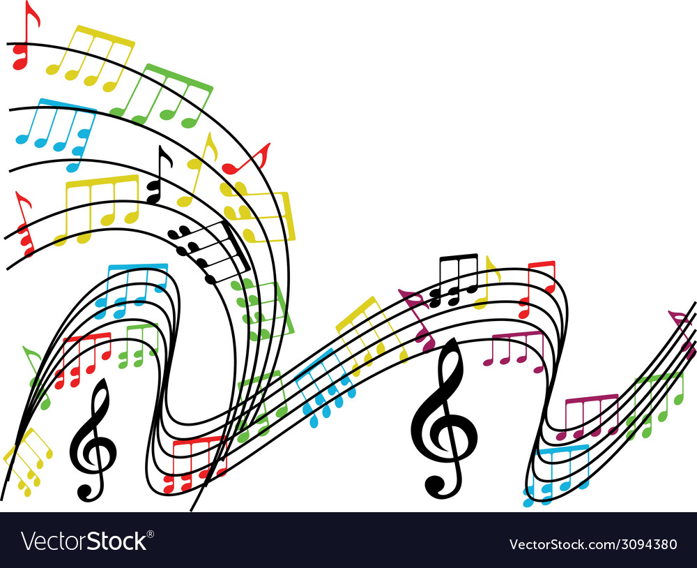 Music notes composition musical theme background vector