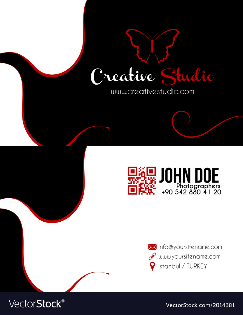 Abstract black business card vector