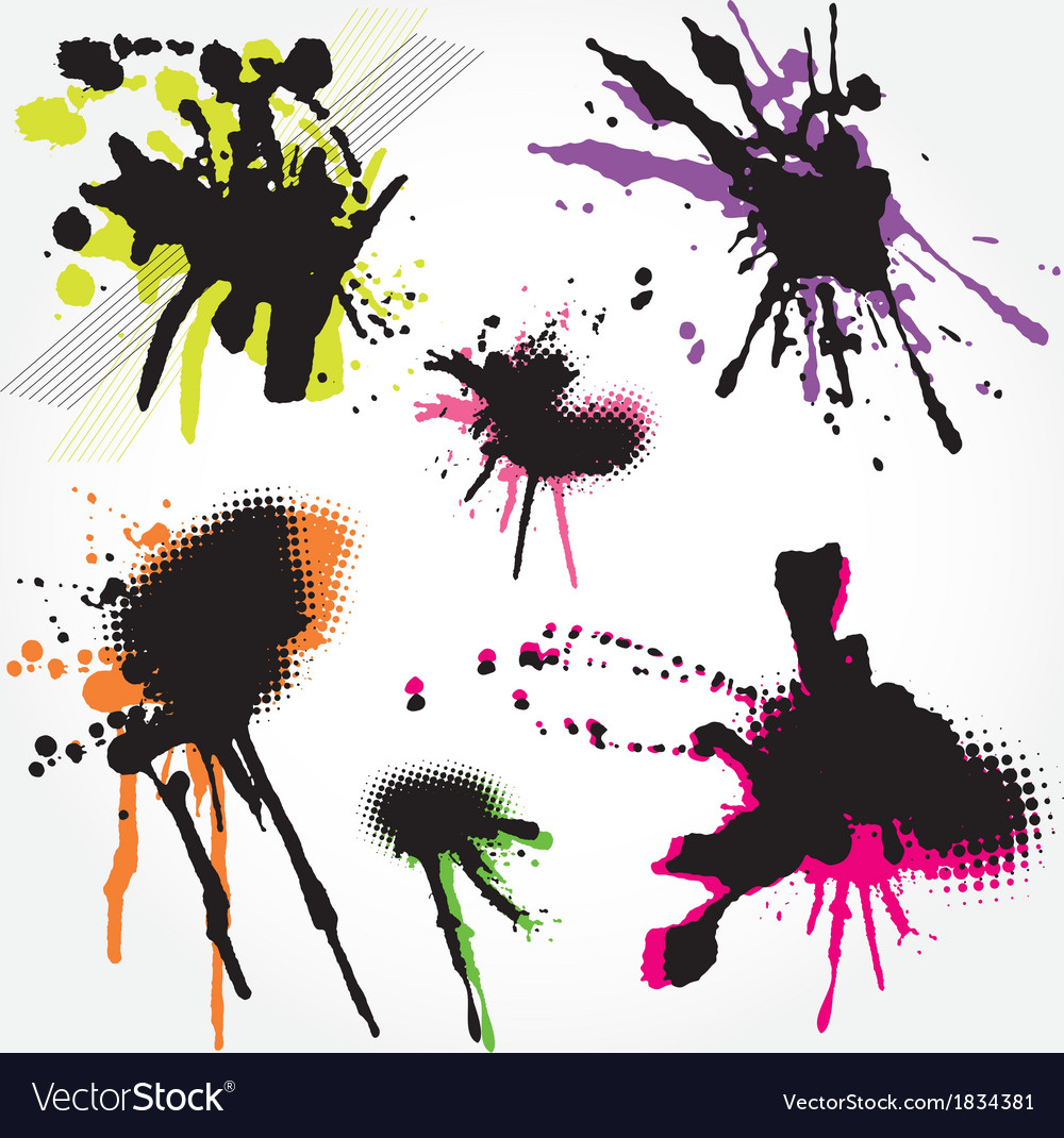 Set of grunge splashes colorful vector