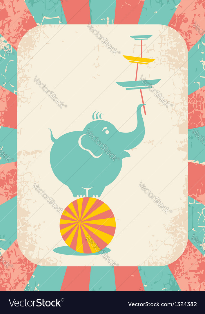 Elephant on the ball vector