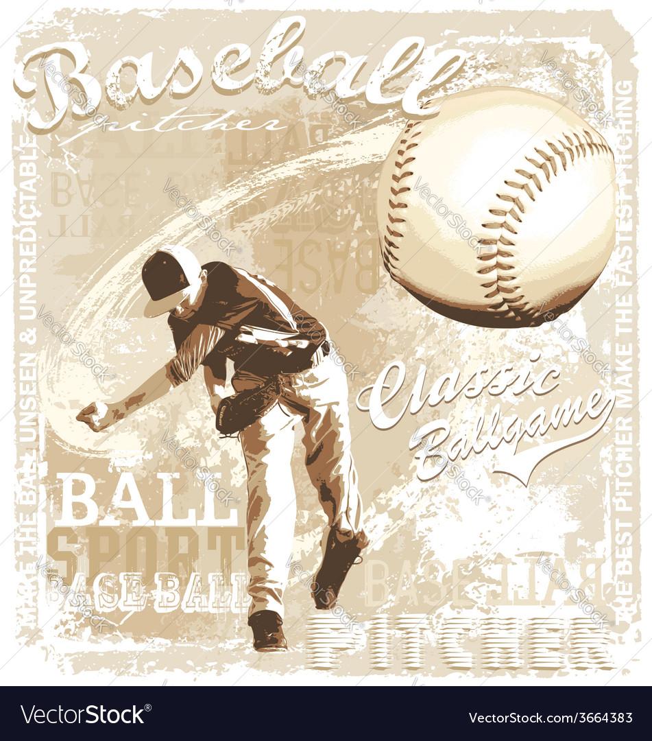 Pitching baseball vector