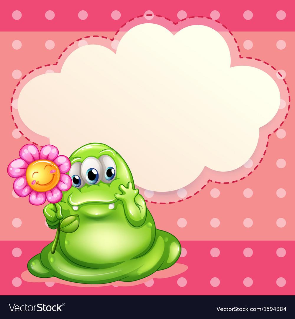 A green monster holding a flower vector