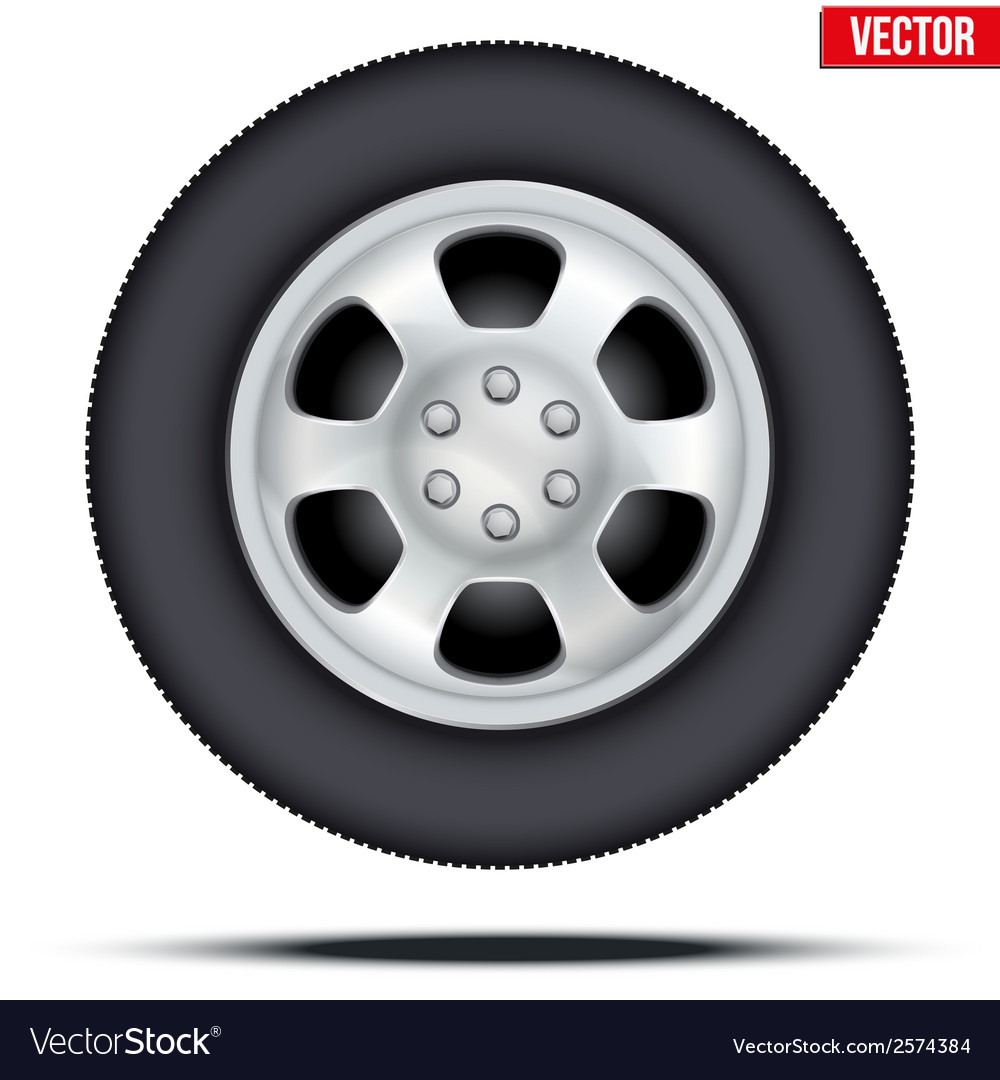 Tire and wheel of car vector