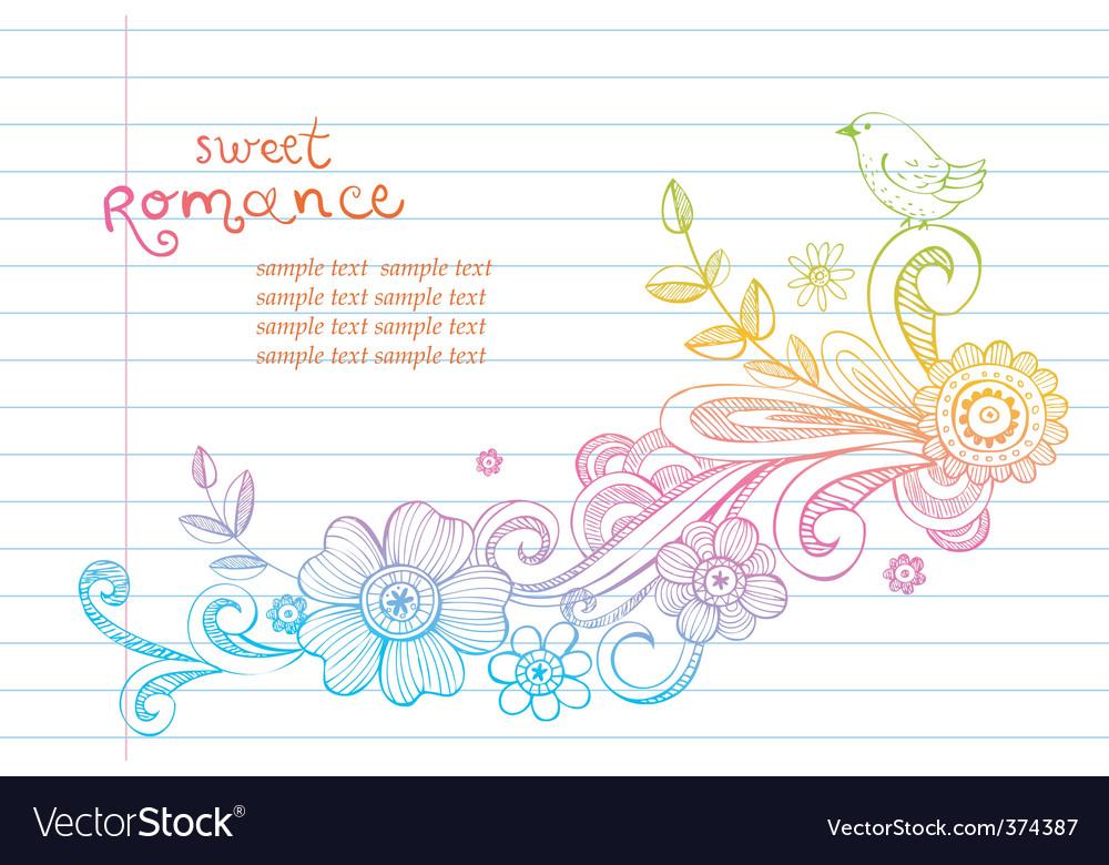 Sketch floral composition vector