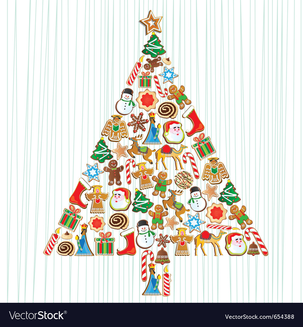 Cookie christmas tree vector