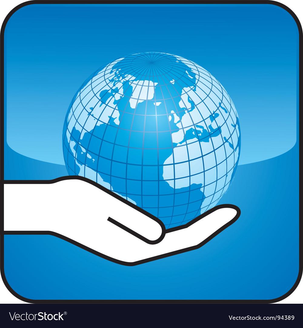 Hand and globe vector