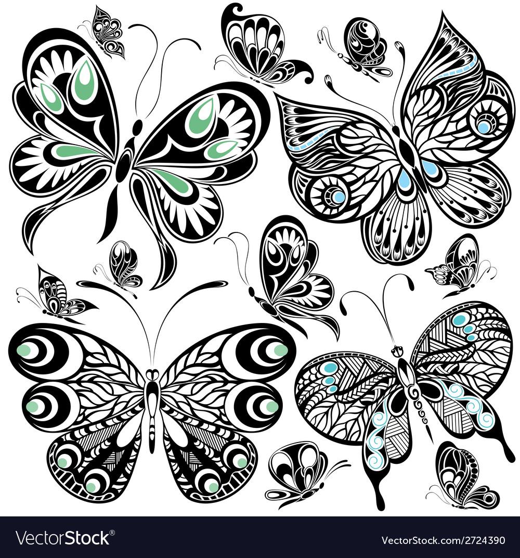 Butterfly set vector