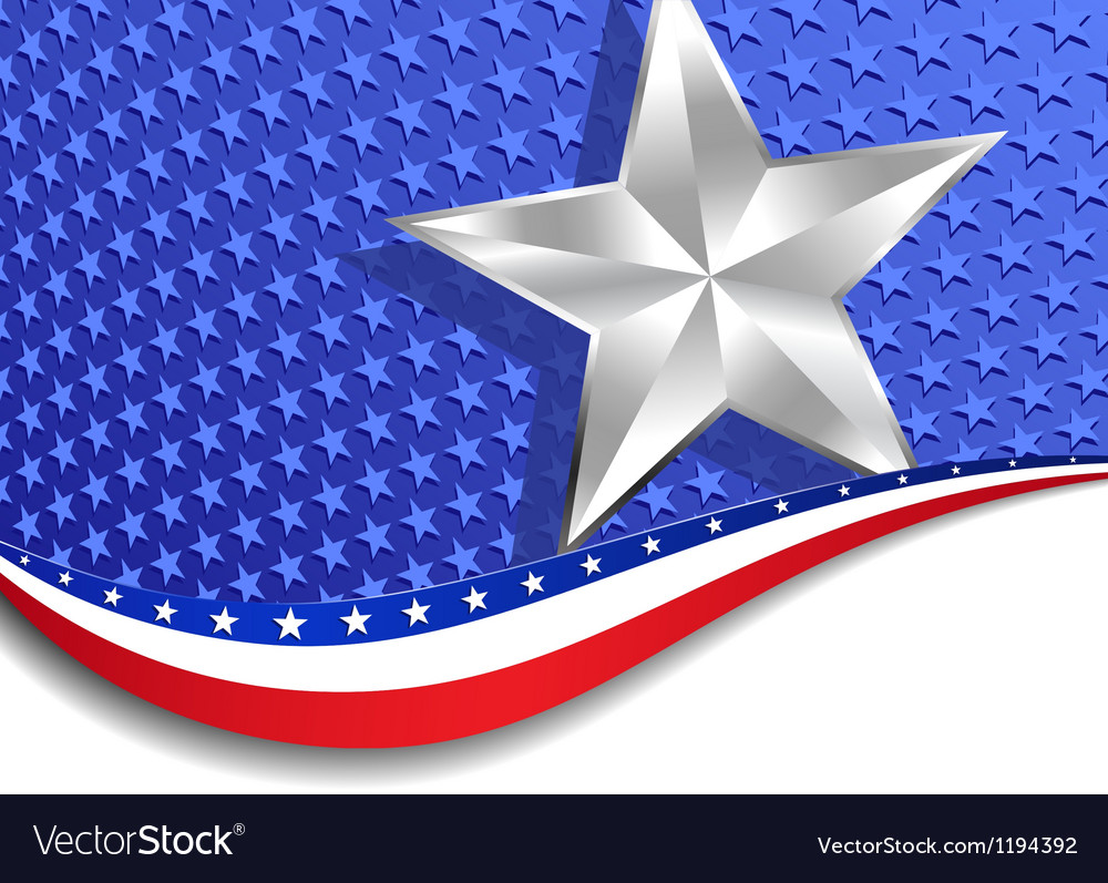 Stars and stripes landscape silver star vector