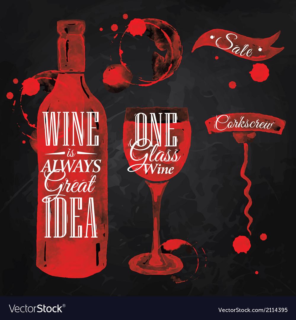 Pointer drawn pour wine chalk vector