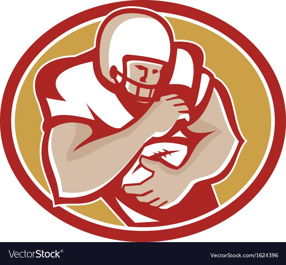 American football running back oval retro vector