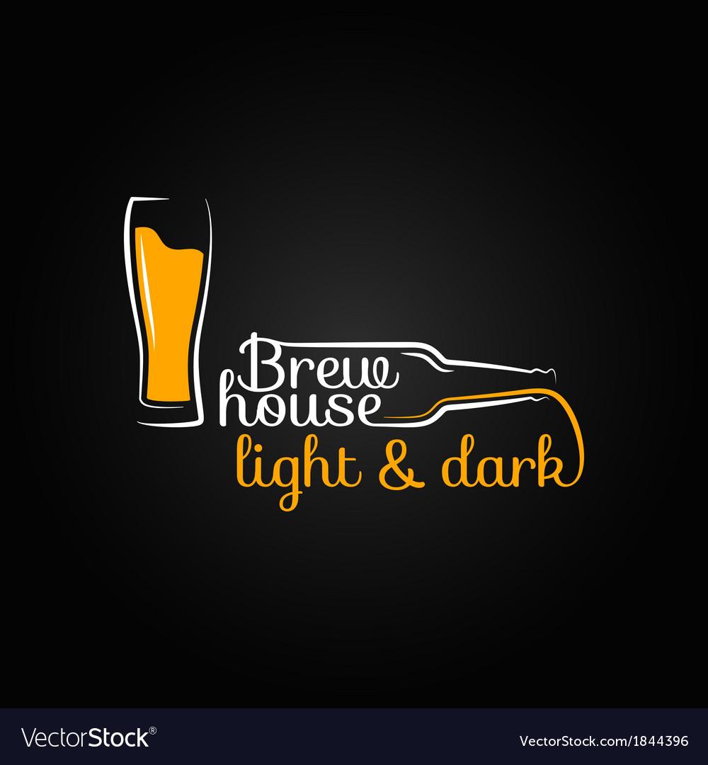 Beer glass bottle house design background vector