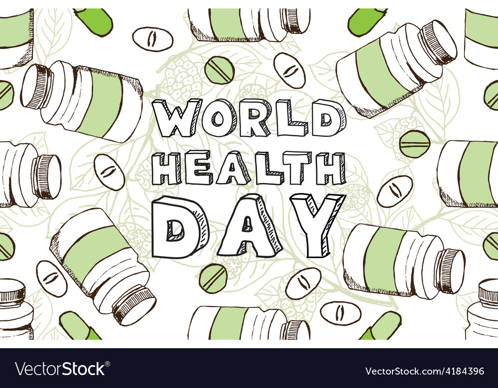 Hand-sketched world health day background vector
